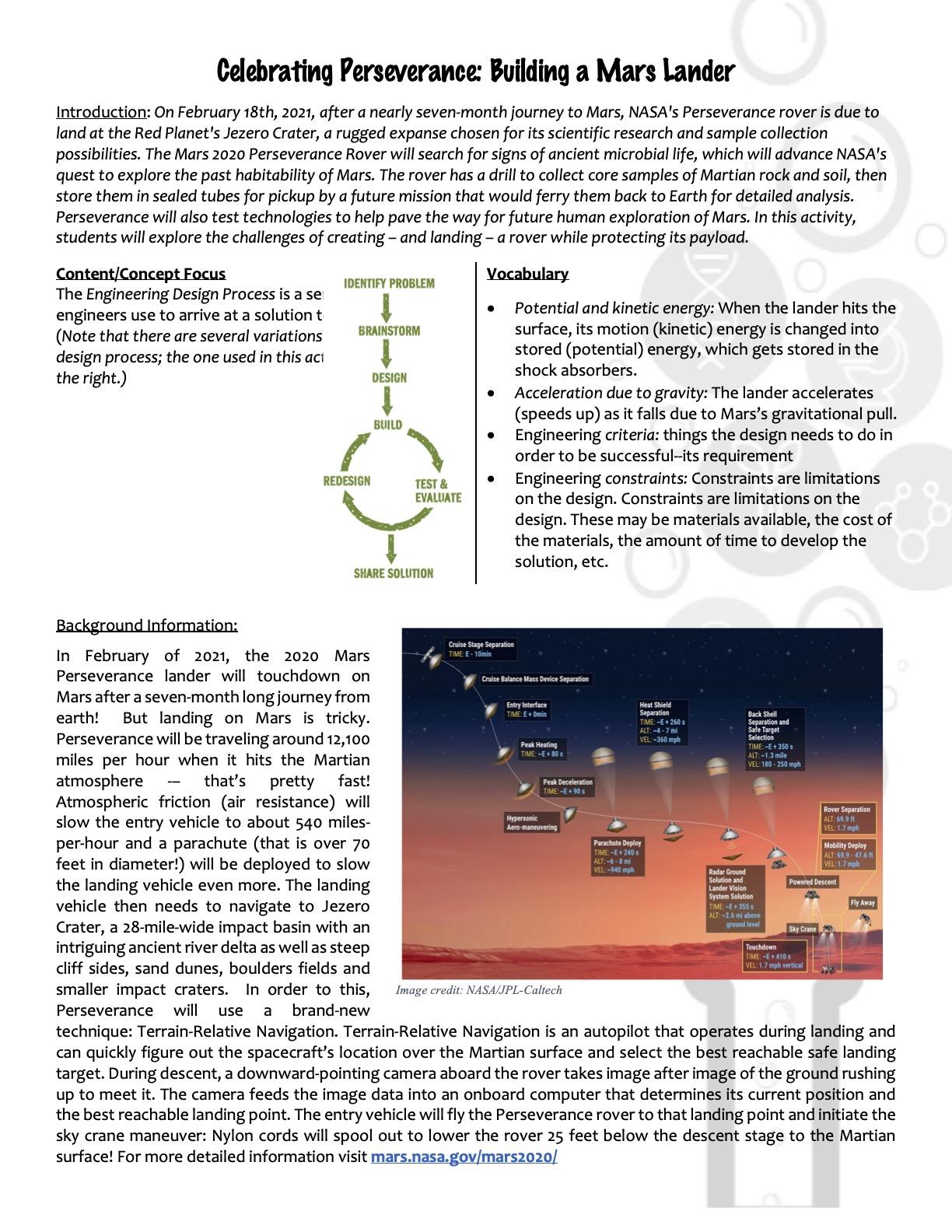 Mars Lander Kit Activity V.1